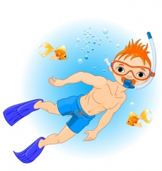 Boy swimming vector
