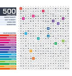 500 icons set vector image