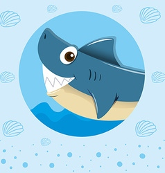 Blue shark with happy face vector