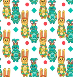 Seamless pattern with easter bunny-13 vector