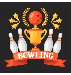 Bowling emblem with game objects image for vector