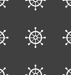 Ship helm icon sign seamless pattern on a gray vector