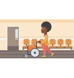 Woman pushing wheelchair vector