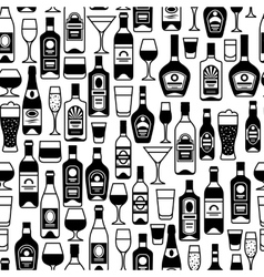 Alcohol drinks seamless pattern bottles glasses vector