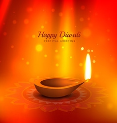 Beautiful diwali background with diya and light vector
