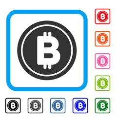 bitcoin coin framed icon vector image vector image