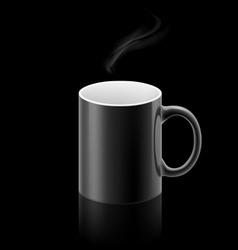 Black mug on black background vector image vector image