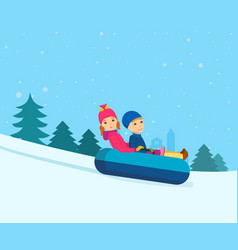 Brother and sister rolling on sled-cheesecakes vector