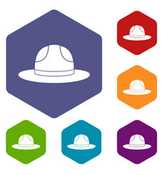 Canadian hat icons set hexagon vector