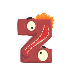 cartoon character monster letter z vector image vector image