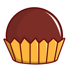 chocolate muffin icon cartoon style vector image vector image