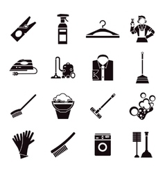 Cleaning black icon set vector