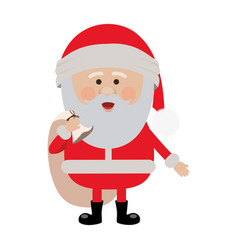 Color silhouette of santa claus with gift bag vector