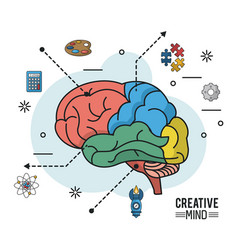 Colorful poster of creative mind with different vector