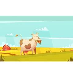 Cow Grazing On Farmland Cartoon Poster vector image