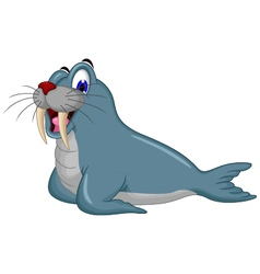 Cute cartoon walrus vector