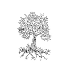 Fairy hand drawn black line art tree vector