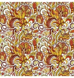 Fantasy flowers seamless paisley pattern floral vector