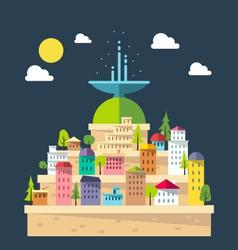 Flat design of fountain city vector