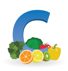 Foods rich in vitamin c vector