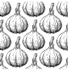 Garlic hand drawn seamless pattern vector