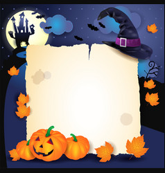 halloween background with parchment hat and vector image vector image