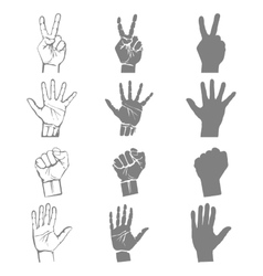 hands holding protect giving gestures icons set vector image