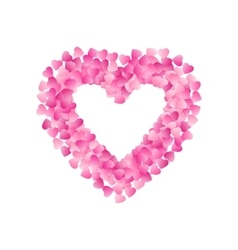Heart Shape Frame Made Of Pink Hearts Valentines vector image vector image