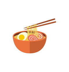 Japanese ramen soup and chopsticks flat icon vector
