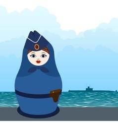 Matryoshka submarine officer vector image vector image