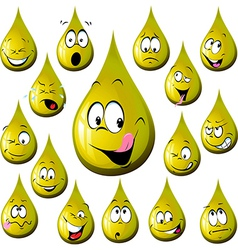 Oil drop cartoon with many expression vector