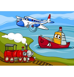 Plane ship train cartoon vector