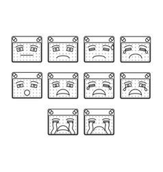 Sad emoticon set vector