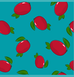 Seamless pattern mango on azure background vector