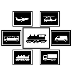 set cargo and freight transport icons vector image