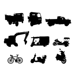 Silhouette set of vehicle vector image