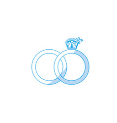 Silhouette wedding ring to symbolic the love vector