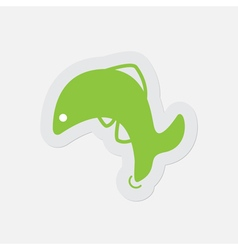 Simple green icon - jumping fish dolphin vector