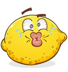 Sour pucker face lemon cartoon character vector