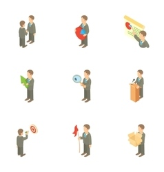 Time management icons set cartoon style vector