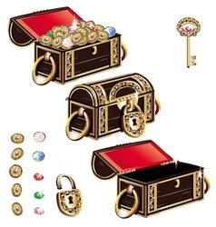 Treasure chest jewelry ornament set vector