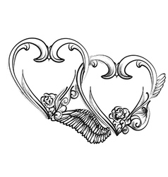 Two hearts sign vector