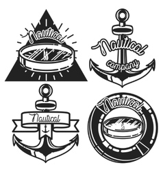Vintage nautical emblems vector image vector image