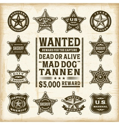 Vintage sheriff marshal and ranger badges set vector image