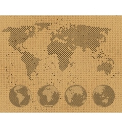 World map and globe set on cardboard texture vector image vector image