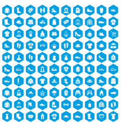 100 rags icons set blue vector