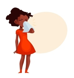 Little african american girl blowing her nose vector image