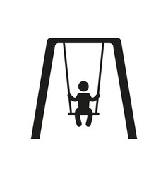 Boy swinging on a swing in the park silhouette vector