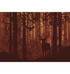 Autumn Forest Landscape and Deer2 vector image