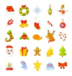 Christmas icon set collection cartoon new vector
